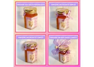 Bomboniera o Segnaposto per Cresima Bambina - vasetto miele gr 150 esagonale