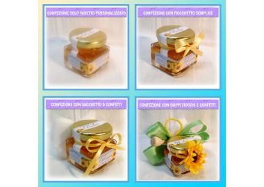 Bomboniera o Segnaposto per Prima Comunione Bambino - vasetto miele gr 50 quadrato
