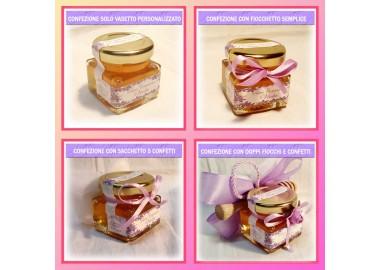 Bomboniera o Segnaposto per Prima Comunione Bambina - vasetto miele gr 50 quadrato