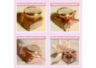 Bomboniera o Segnaposto per Annuncio di nascita bambina - vasetto miele gr 50 quadrato