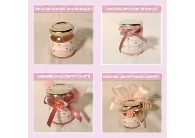 Bomboniera o Segnaposto per Annuncio di nascita Bambina - vasetto miele gr 80