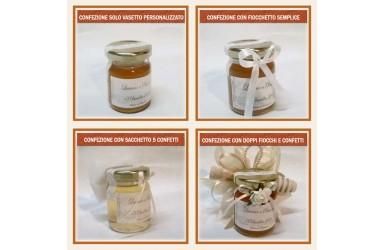 Bomboniera o Segnaposto per Matrimonio - vasetto miele gr 80 con 3 confetti