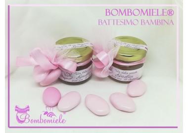 Bomboniera o Segnaposto per annuncio di nascita bambina - vasetto miele gr 30 con 1 o 3 confetti