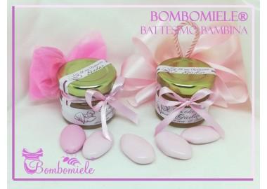 Bomboniera o Segnaposto per Battesimo Bambina - vasetto miele gr 30 con 5 confetti