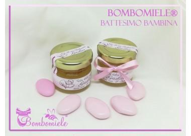 Bomboniera o Segnaposto per Battesimo Bambina - vasetto miele gr 30