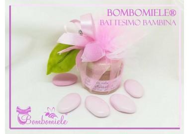 Bomboniera o Segnaposto per Battesimo Bambina - vasetto miele gr 30 chiuso a fiore