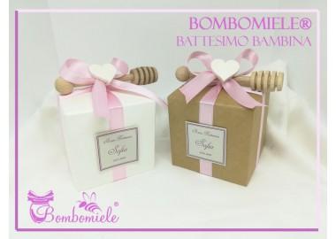Bomboniera o Segnaposto per Battesimo Bambina vasetto miele gr 50 in scatolina 6x6 - 5 confetti e spargimiele come opzione