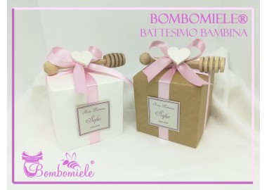 Bomboniera o Segnaposto per Battesimo Bambina vasetto miele gr 80 in scatolina 7x7 - 5 confetti e spargimiele come opzione