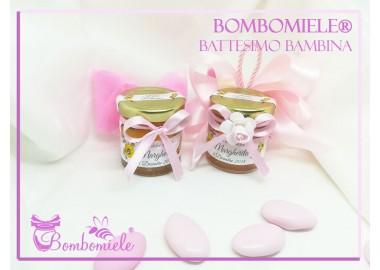 Bomboniera o Segnaposto per Battesimo Bambina - vasetto miele gr 50 con 5 confetti e doppi fiocchi
