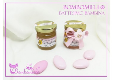 Bomboniera o Segnaposto per Battesimo Bambina - vasetto miele gr 50