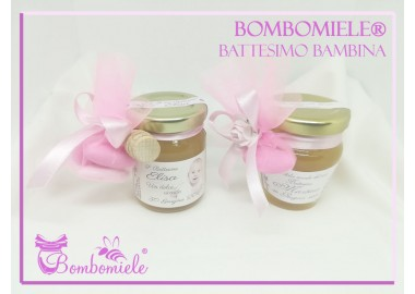 Bomboniera o Segnaposto per Battesimo Bambina - vasetto miele gr 80 - standard o anforina con 1 o 3 confetti
