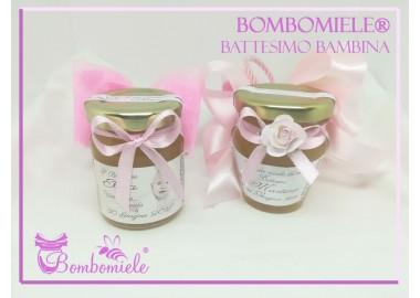 Bomboniera o Segnaposto per Battesimo Bambina - vasetto miele gr 80 - standard o anforina con 5 confetti