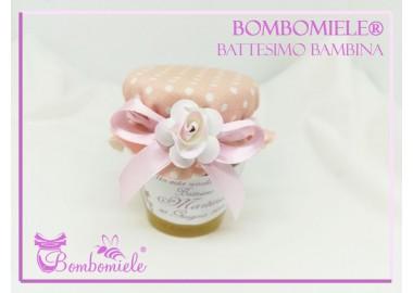 Bomboniera o Segnaposto per Battesimo Bambina - vasetto miele gr 80 - standard o anforina con copritappo