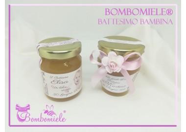 Bomboniera o Segnaposto per Battesimo Bambina - vasetto miele gr 80 - standard o anforina