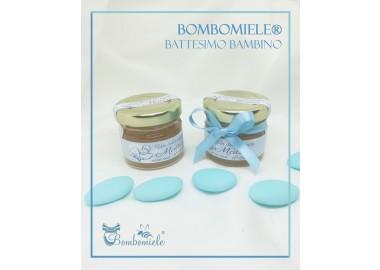 Bomboniera o Segnaposto per Annuncio di nascita Bambino - vasetto miele gr 30 opzione fiocco