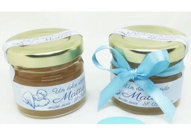 Bomboniera o Segnaposto per Battesimo Bambino - vasetto miele gr 30 personalizzato - opzione fiocco