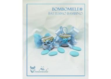 Bomboniera o Segnaposto per Annuncio di nascita bambino - vasetto miele gr 30 con 5 confetti - semplice o con doppi fiocchi