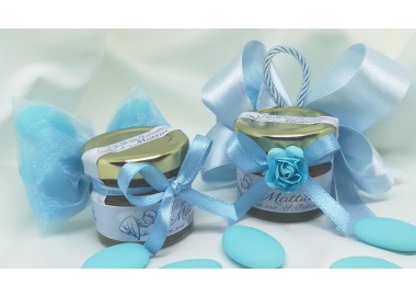 Bomboniera o Segnaposto per Battesimo Bambino - vasetto miele gr 30 con 5 confetti - semplice o con doppi fiocchi