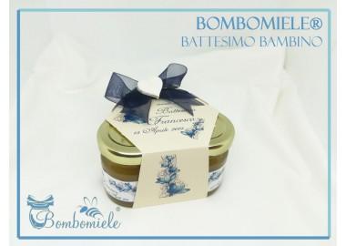 Bomboniera o Segnaposto per Battesimo Bambino - coffanetto 3 vasetti miele e confetti