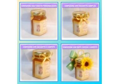Bomboniera o Segnaposto per Cresima Bambino - vasetto miele gr 150 esagonale