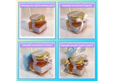 Bomboniera o Segnaposto per Annuncio nascita Bambino - vasetto miele gr 50 quadrato