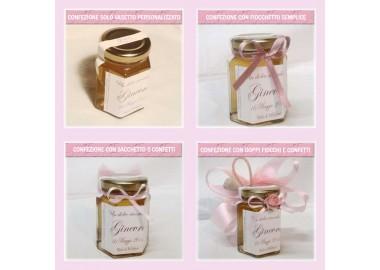 Bomboniera o Segnaposto per Battesimo Bambina - vasetto miele gr 150 esagonale