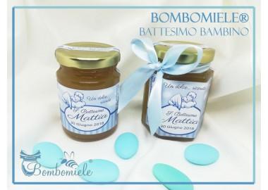 Bomboniera o Segnaposto per Battesimo Bambino - vasetto miele gr 150 esagonale con fiocco