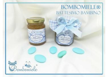 Bomboniera o Segnaposto per Battesimo Bambino - vasetto miele gr 150 con copritappo, opzione confetti
