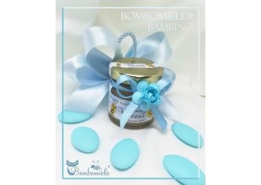 Bomboniera o Segnaposto per Annuncio di nascita bambino - vasetto miele gr 50 con doppi fiocchi e confetti