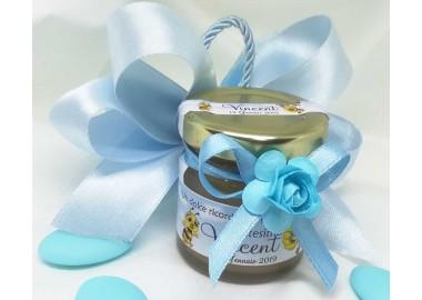 Bomboniera o Segnaposto per Battesimo Bambino - vasetto miele gr 50 con doppi fiocchi e confetti