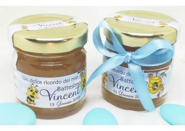 Bomboniera o Segnaposto per Battesimo Bambino - solo vasetto miele gr 50 - opzione fiocco