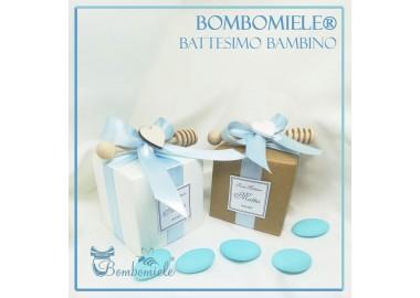Bomboniera o Segnaposto per Battesimo Bambino vasetto miele gr 80 in scatolina 7x7 - 5 confetti e spargimiele come opzione