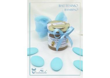 Bomboniera o Segnaposto per Annuncio di nascita bambino con 5 confetti vasetto miele gr 50