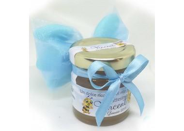 Bomboniera o Segnaposto per Battesimo Bambino con 5 confetti vasetto miele gr 50