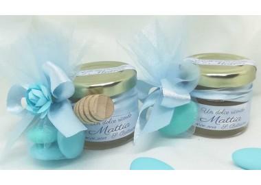Bomboniera o Segnaposto per Battesimo Bambino con 1 o 3 confetti vasetto miele gr 30