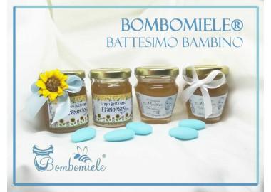 Bomboniera o Segnaposto per Annuncio di nascita Bambino - vasetto miele gr 80 - standard o anforina