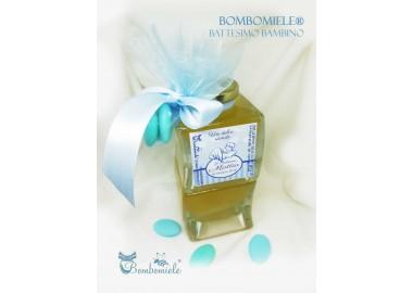 Bomboniera o Segnaposto per Battesimo Bambino - vasetto miele gr 150 doppia onda
