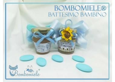 Bomboniera o Segnaposto per Battesimo Bambino - vasetto miele gr 80 - standard o anforina con 5 confetti