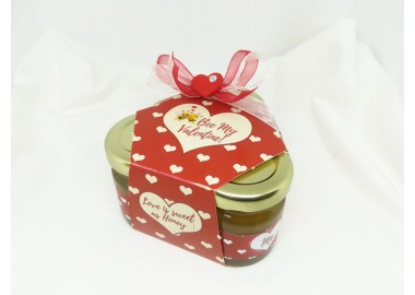 San Valentino - Bee my Valentine - Love is sweet as honey - coffanetto 3 vasetti miele e caramelle