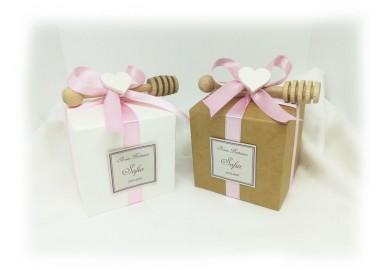 Bombomiele matrimonio vasetto miele in scatolina di cartoncino con spargimiele gr 150 Bomboniera Sengaposto