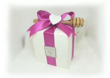 Bomboniera o Segnaposto per Prima Comunione Bambina vasetto miele gr 250 in scatolina 8x8 - 5 confetti e spargimiele come opzione
